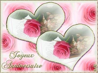 Joyeux anniversaire avec coeur et roses