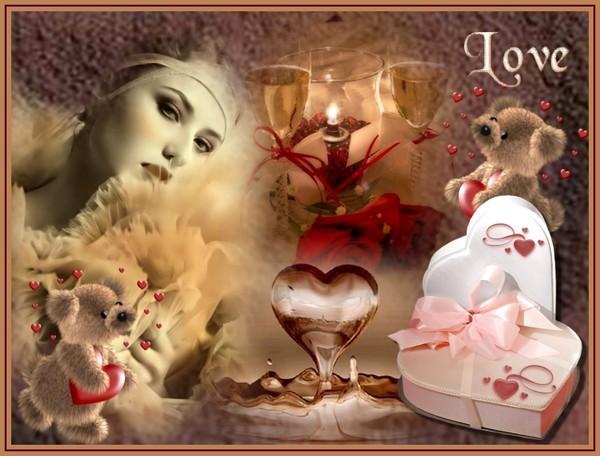 création LOVE avec mélange d'images de coeur