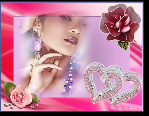 cadre avec joli visage de femme et coeur