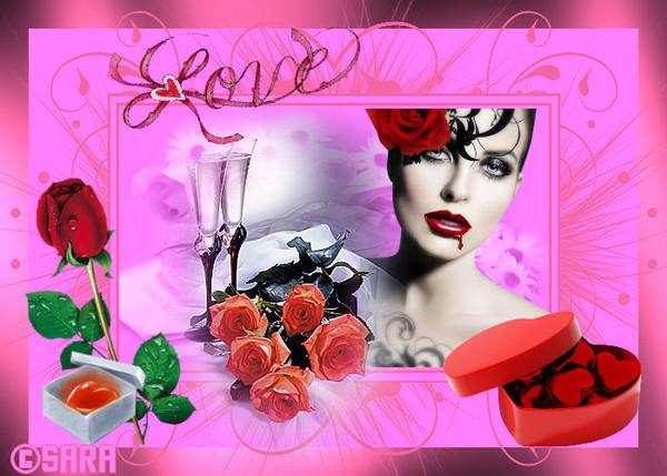 love avec des fleurs