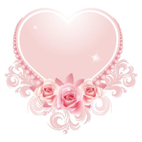 Un Superbe Coeur Rose Avec Fleurs