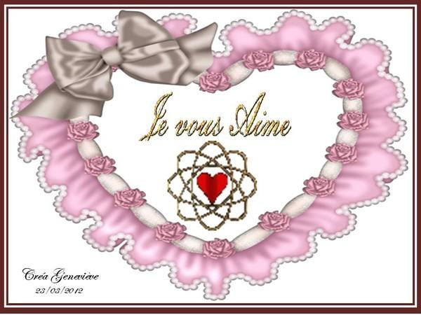 je vous aime dans un joli coeur rose
