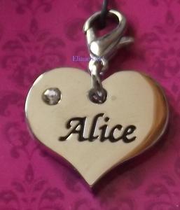 Prenom ALICE dans un coeur pendentif