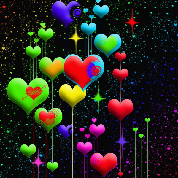cool 3d colorful wallpaper love - photo #2