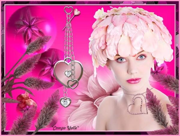 Jolie femme avec pétales de roses et coeur