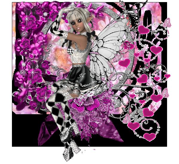 jolie fée papillon dans un joli decor avec des coeurs
