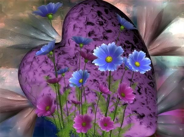 Joli Coeur De Printemps Avec Ses Belles Fleurs Centerblog