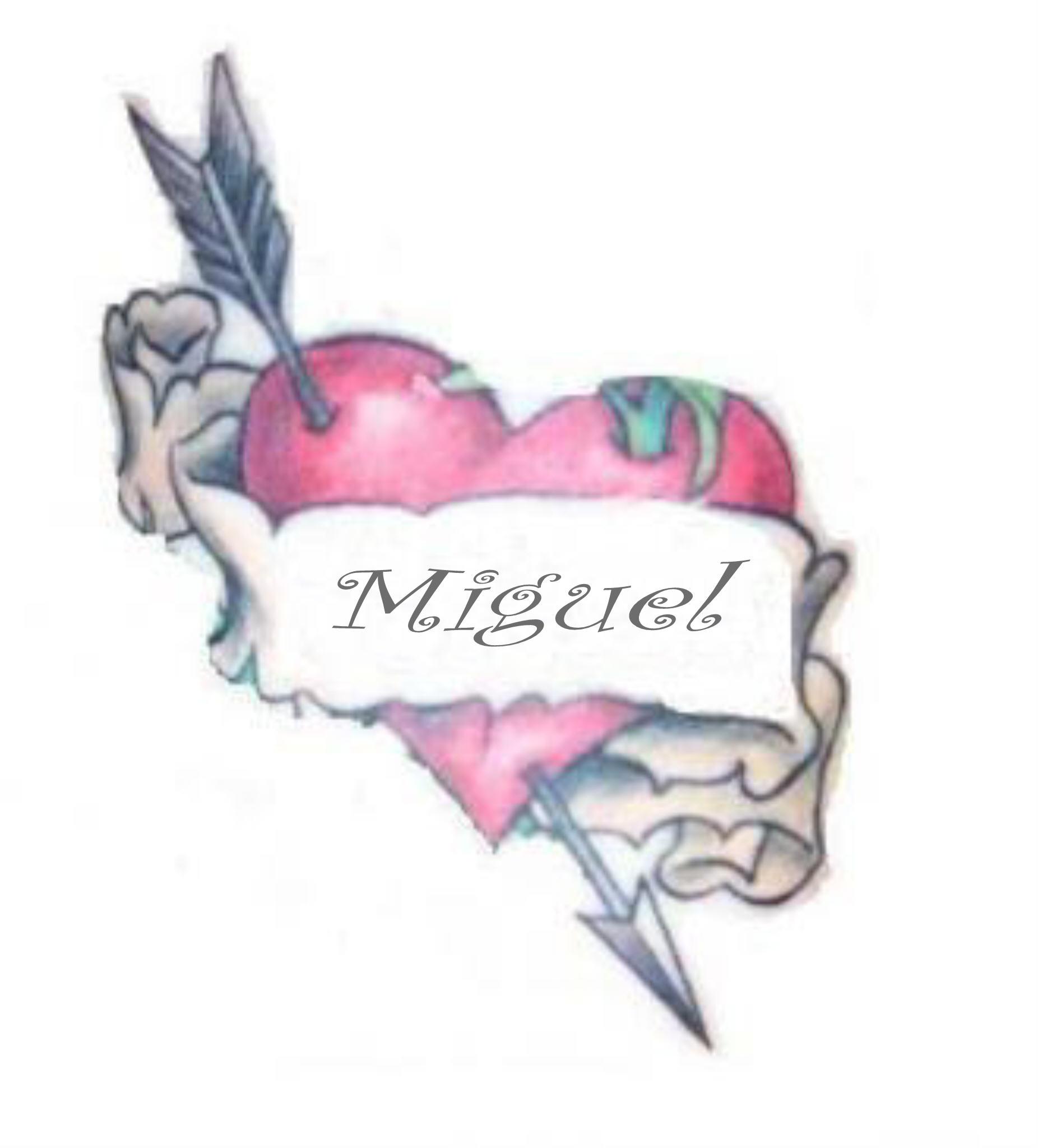 Prénom MIGUEL MIGUEL dans coeur tatoué