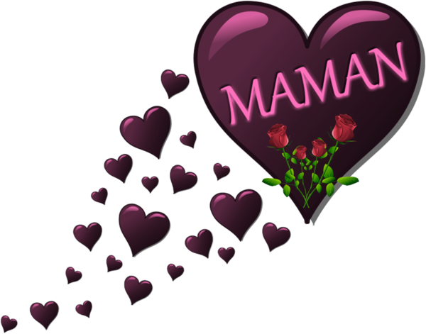 un joli coeur avec roses pour nos mamans qu'on aime