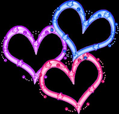 trois jolis coeurs.bleu rose rouge
