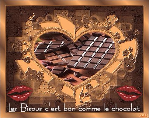 belle image. Coeur bisous et chocolat