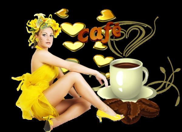 café servi par une jolie femme.création de CALINE