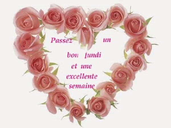 BON LUNDI dans un coeur de roses