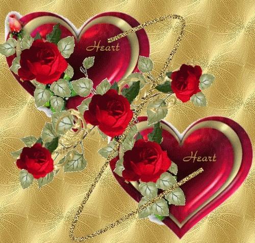 Belle image de deux coeurs avec roses rouges centerblog - Images avec des coeurs ...
