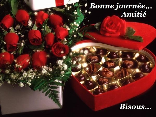 BONNE JOURNEE. bouquet et boite coeur gourmande