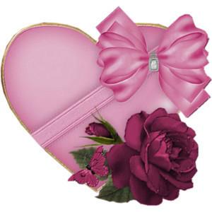 un tres joli coeur avec un beau noeux et une rose