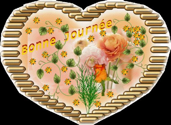 BONNE JOURNEE dans un coeur fleuri