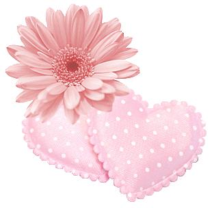 fleur et coeur rose