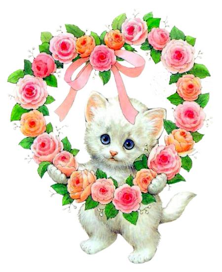 Chat et coeur - Coeur avec des fleurs ...