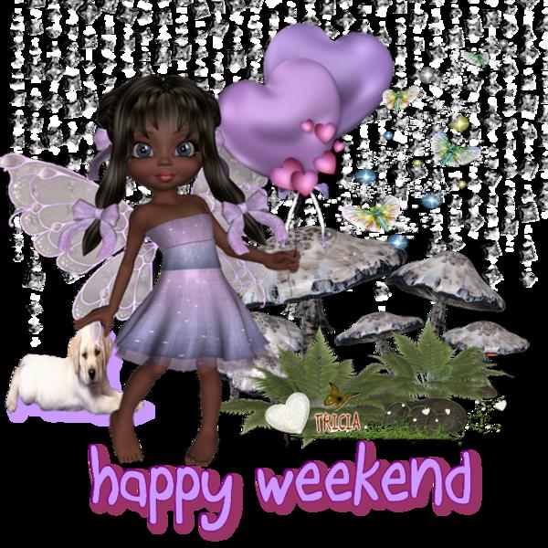 BON WEEKEND.joli ange papillon avec des coeurs