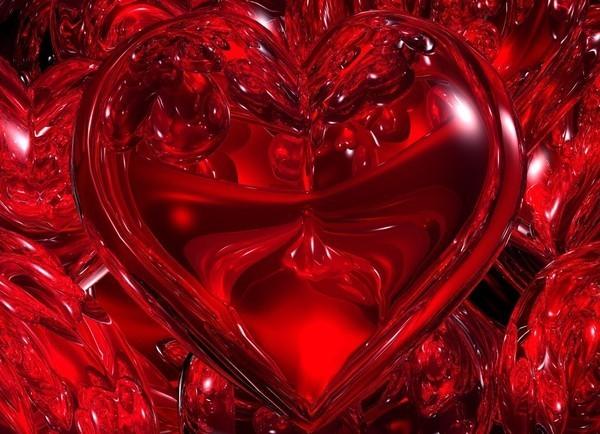 un coeur rouge écarlate