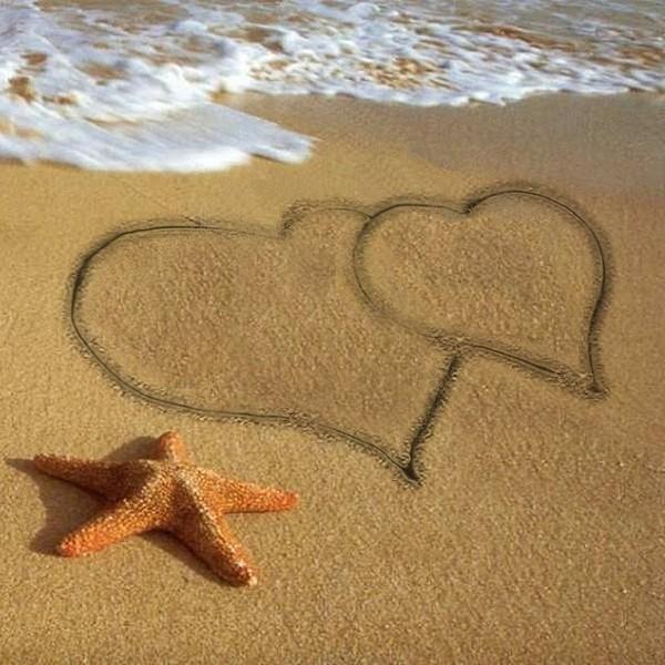 d80cdf110795 Deux coeurs sur le sable et etoile de mer