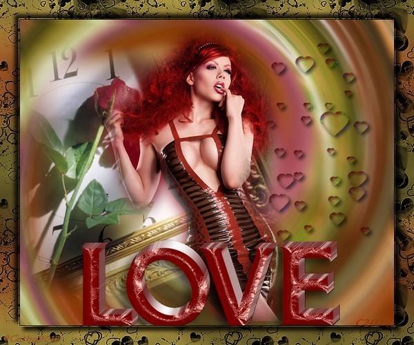 image LOVE avec femme sexy et coeur