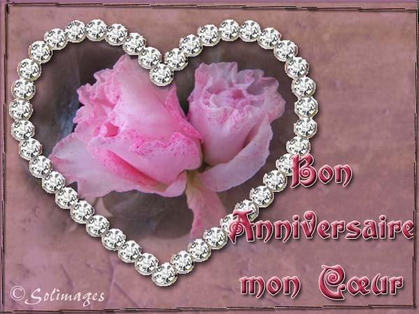joli coeur et fleur pour un bon anniversaire