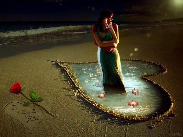 Une superbe image d'un couple dans un coeur