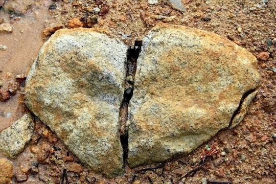 Nature. coeur de pierre brisé