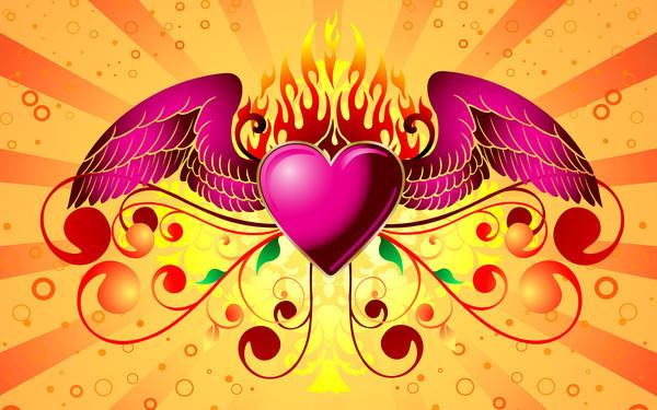 Image d'un beau coeur avec des ailes - coeur avec des ailes