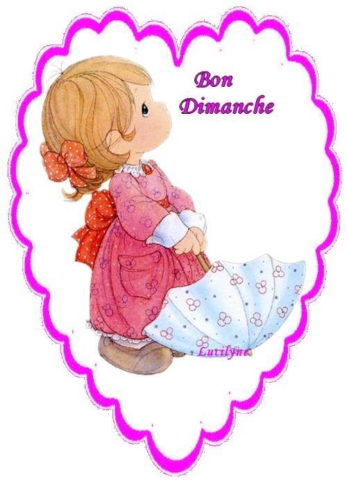 BON DIMANCHE. coeur avec petite fille