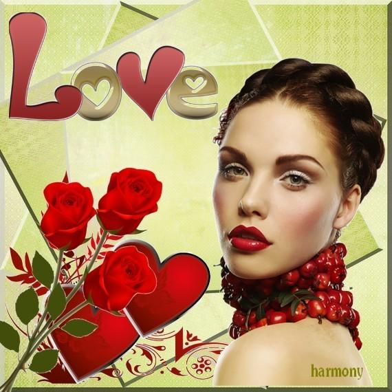 Image LOVE avec Femme et Coeur