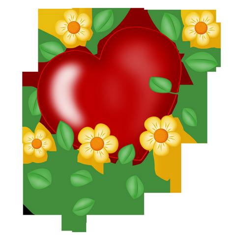coeur rouge entouré de jolies fleurs