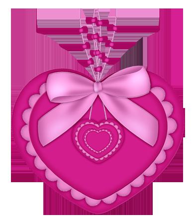 joli coeur rose avec ruban