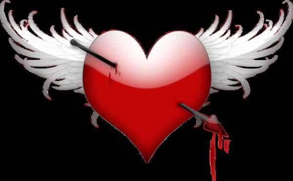 Coeur avec aile et fl che coeur avec les ailes - Dessin de coeur avec des ailes ...