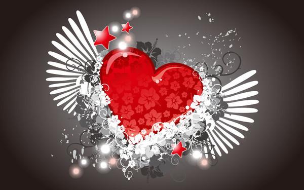 Belle image de coeur ailé avec etoiles - ange