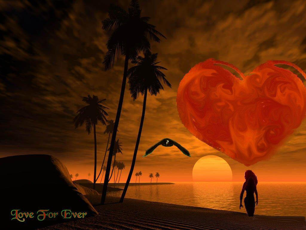Fond d'écran.coucher de soleil et coeur