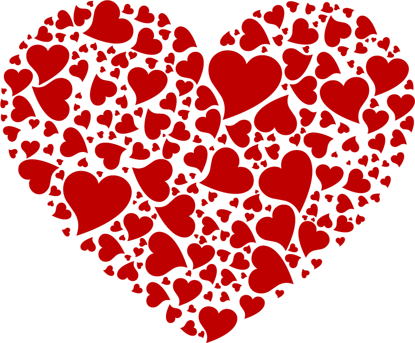 Grand Coeur De Petits Coeurs Rouges