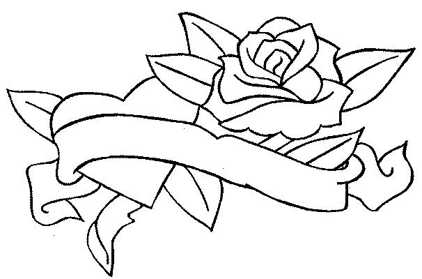 Coloriage Coeur Et Rose