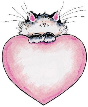 Coeur rose et Chaton