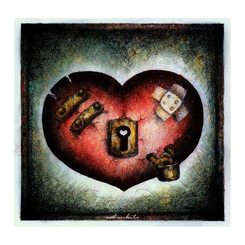 Coeur bless avec serrure centerblog - Dessin de coeur brise ...