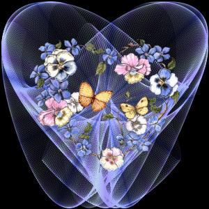 Joli coeur avec papillon et fleurs sur fond noir centerblog - Fleur au coeur noir ...